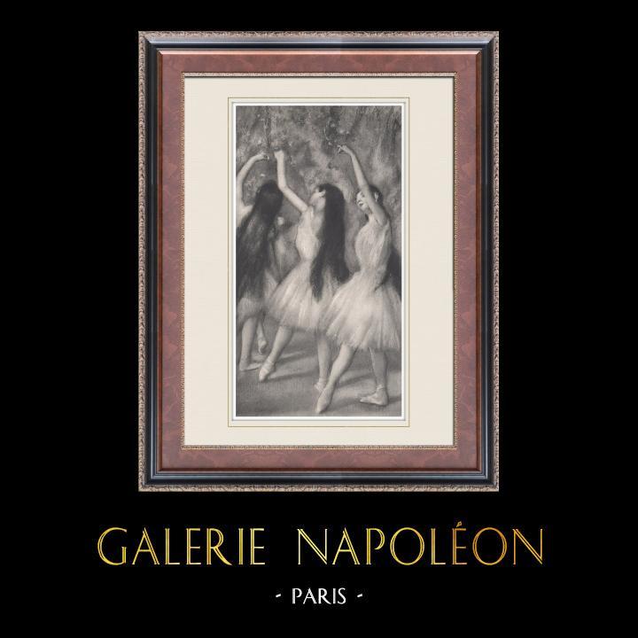 Gravures Anciennes & Dessins | Ballet - Danseuses - Danseuses Vertes (Edgas Degas) | Héliogravure | 1933