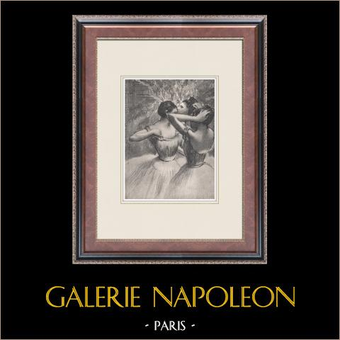 Ballet - Bailarinas - Les Trois Danseuses Jaunes (Edgas Degas) | Heliograbado original según Edgar Degas. 1933