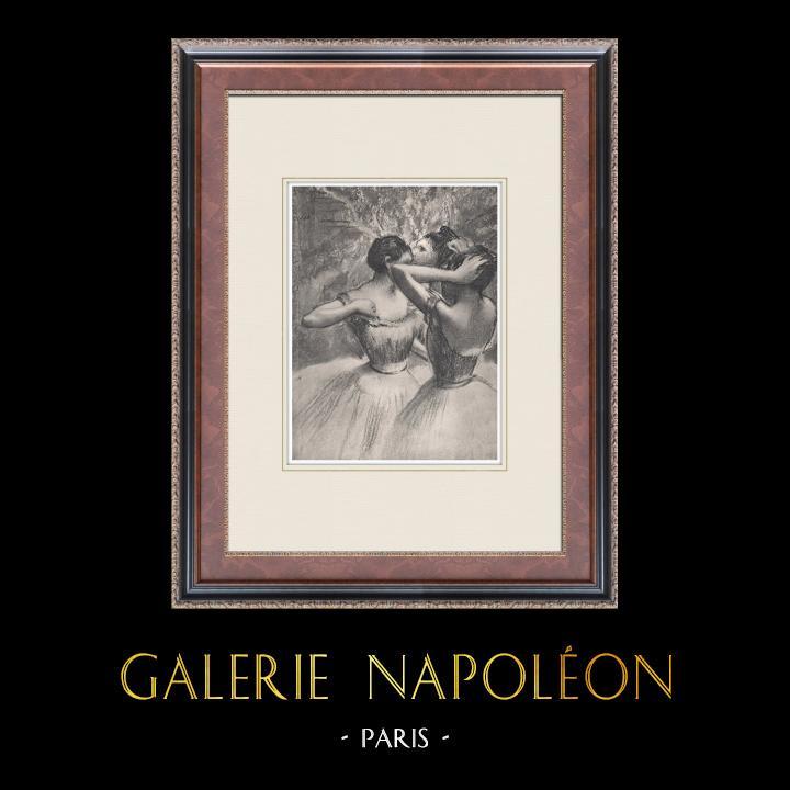 Gravures Anciennes & Dessins   Ballet - Danseuses - Les Trois Danseuses Jaunes (Edgas Degas)   Héliogravure   1933