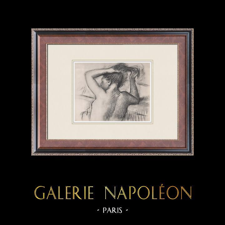 Gravures Anciennes & Dessins   Nu Féminin - Femme se Coiffant (Edgar Degas)   Héliogravure   1933