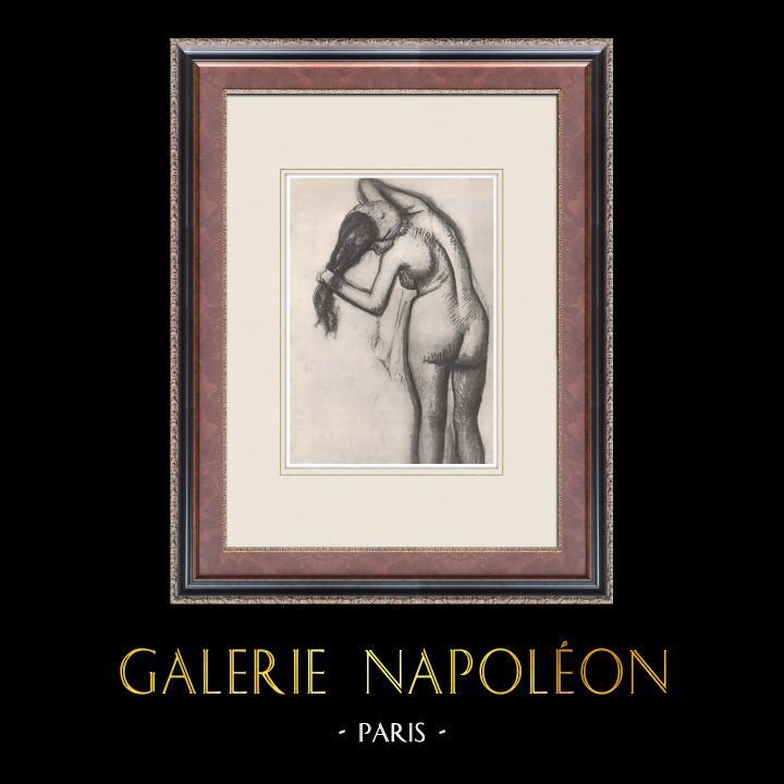 Gravures Anciennes & Dessins | Nu Féminin - Femme à la Toilette (Edgar Degas) | Héliogravure | 1933