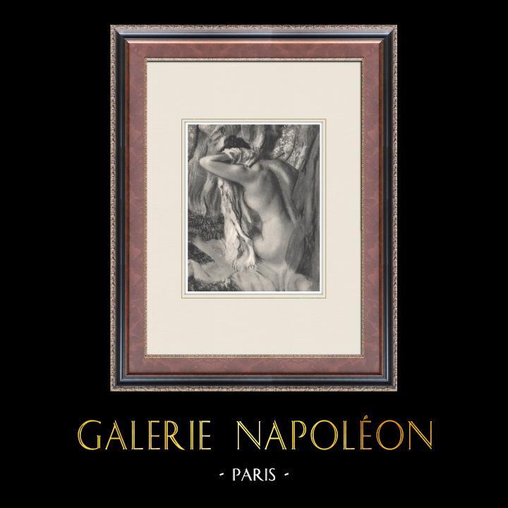 Gravures Anciennes & Dessins   Nu Féminin - La Sortie du Bain (Edgar Degas)   Héliogravure   1933