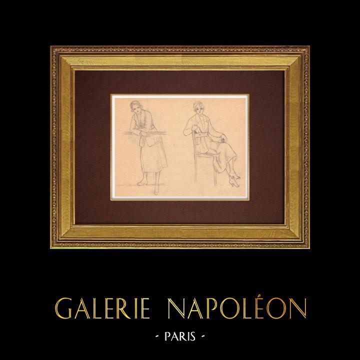 Gravures Anciennes & Dessins | Dessin de Mode - France - Années Folles 34/37 | Dessin | 1930