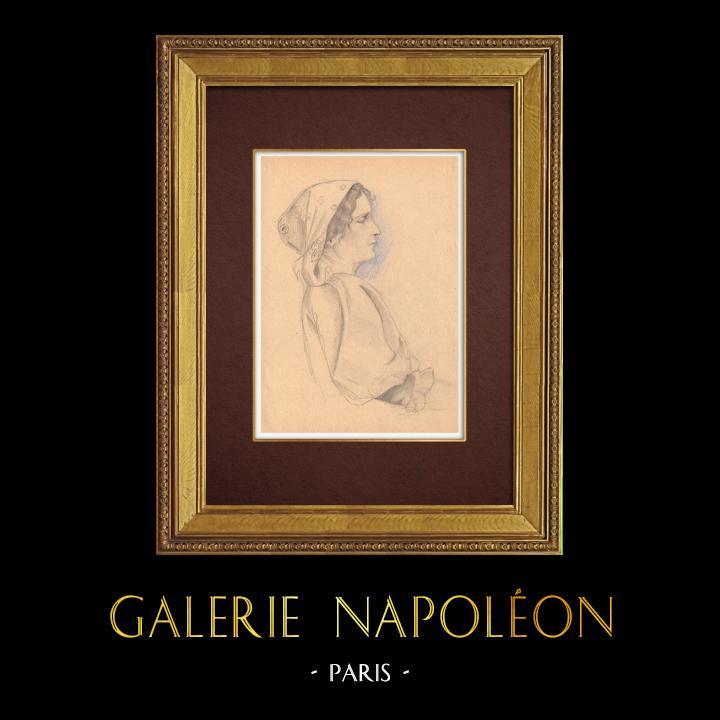 Gravures Anciennes & Dessins | Jeune Fille Napolitaine - Naples (Italie) | Dessin | 1930
