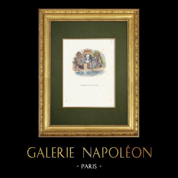 Gravures Anciennes & Dessins | Fables de La Fontaine - L'Homme et son Image | Gravure sur bois | 1859