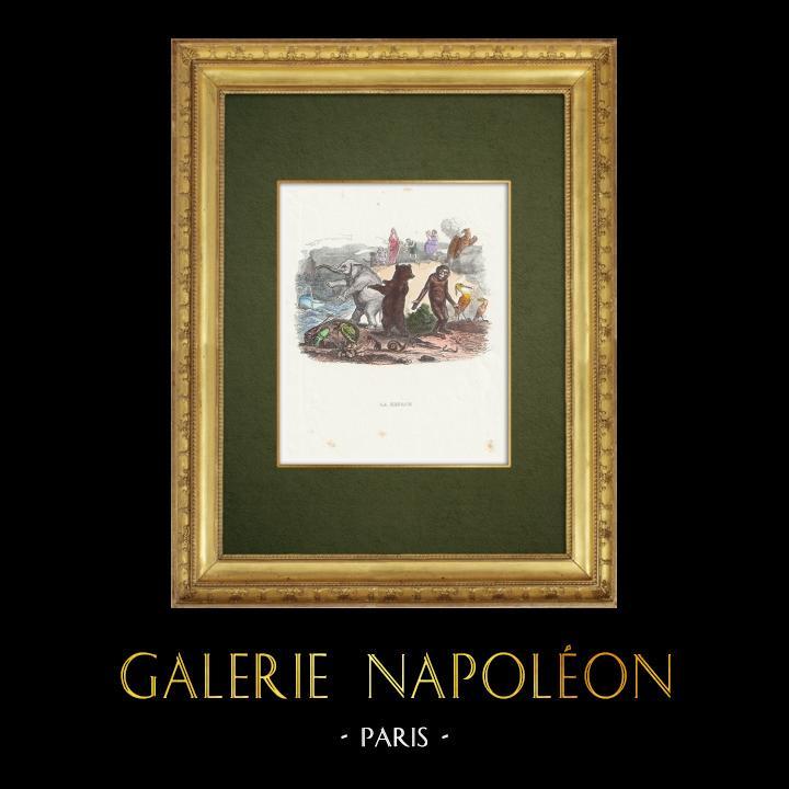 Gravures Anciennes & Dessins   Fables de La Fontaine - La Besace   Gravure sur bois   1859