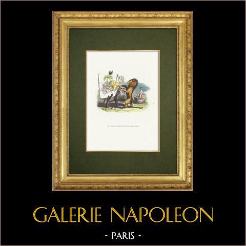 Favole di La Fontaine - Le Lion Abattu par l'Homme | Incisione xilografica originale disegnata da J.J. Grandville. Acquerellata a mano. 1859