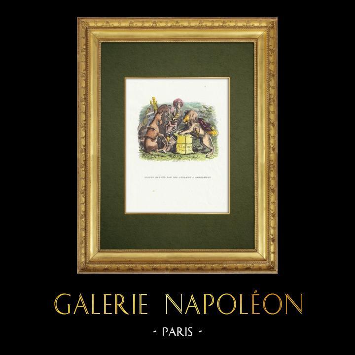 Gravures Anciennes & Dessins | Fables de La Fontaine - Tribut Envoyé par les Animaux à Alexandre | Gravure sur bois | 1859
