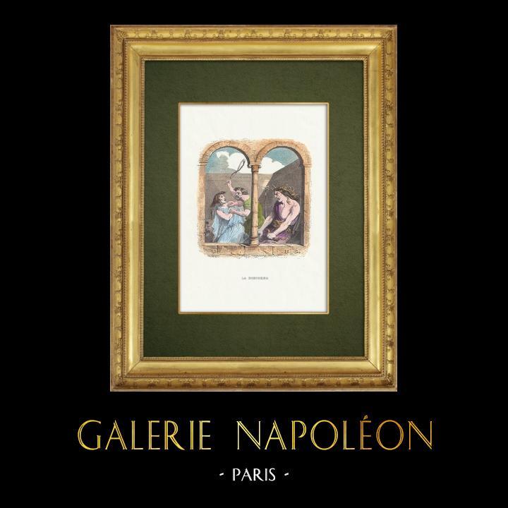 Gravures Anciennes & Dessins   Fables de La Fontaine - La Discorde   Gravure sur bois   1859