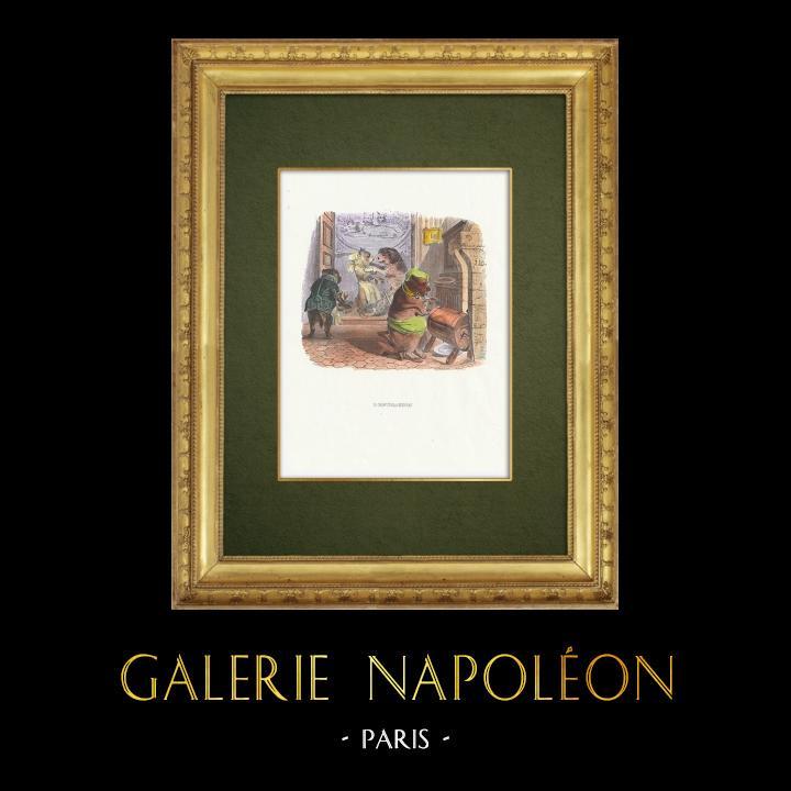 Gravures Anciennes & Dessins | Fables de La Fontaine - L'Education | Gravure sur bois | 1859