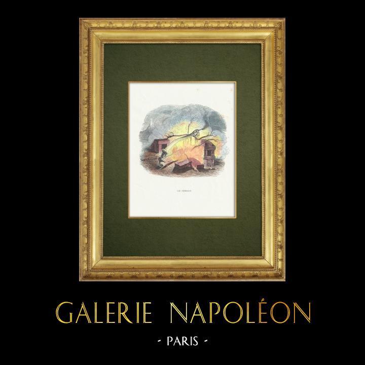 Gravures Anciennes & Dessins | Fables de La Fontaine - Le Cierge | Gravure sur bois | 1859