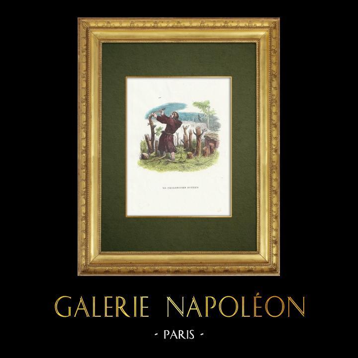 Gravures Anciennes & Dessins   Fables de La Fontaine - Le Philosophe Scythe   Gravure sur bois   1859