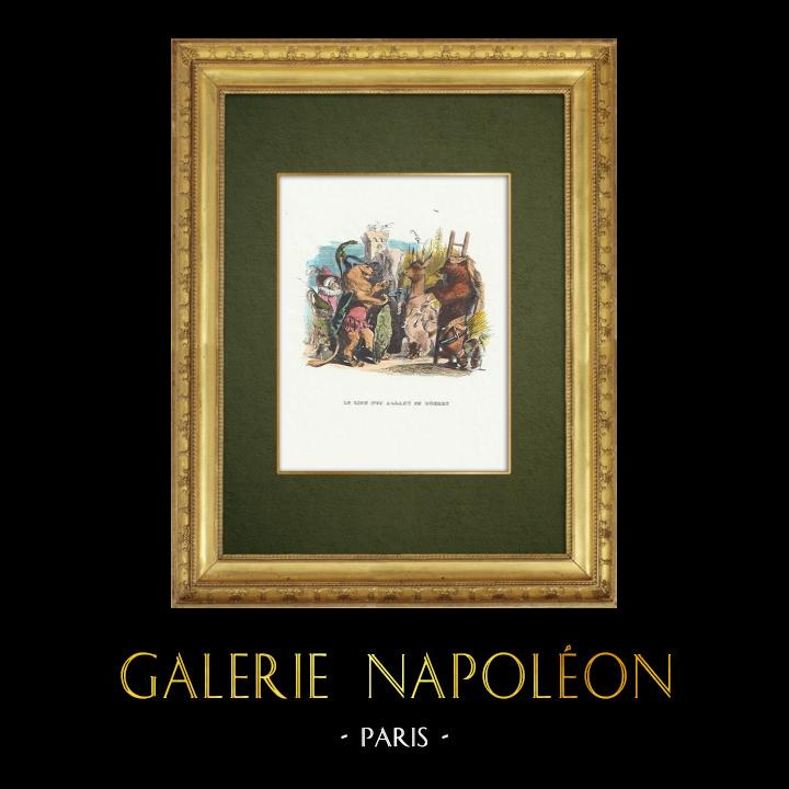 Gravures Anciennes & Dessins   Fables de La Fontaine - Le Lion s'en Allant en Guerre   Gravure sur bois   1859