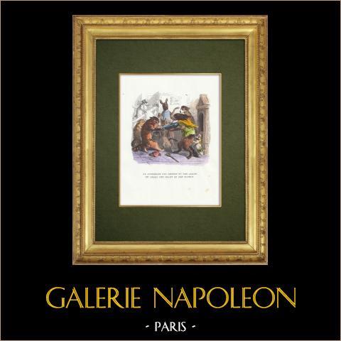 Favole di La Fontaine - La Querelle des Chiens et des Chats et celle des Chats et des Souris | Incisione xilografica originale disegnata da J.J. Grandville. Acquerellata a mano. 1859