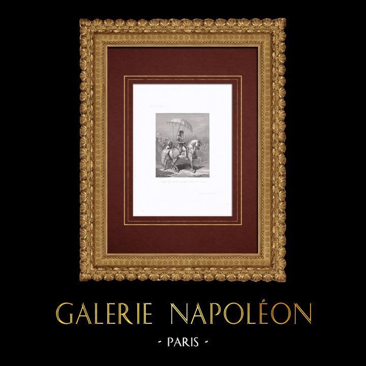 Gravures Anciennes & Dessins | Portrait équestre de Randjet Sing Baadour (?-1839) | Taille-douce | 1838
