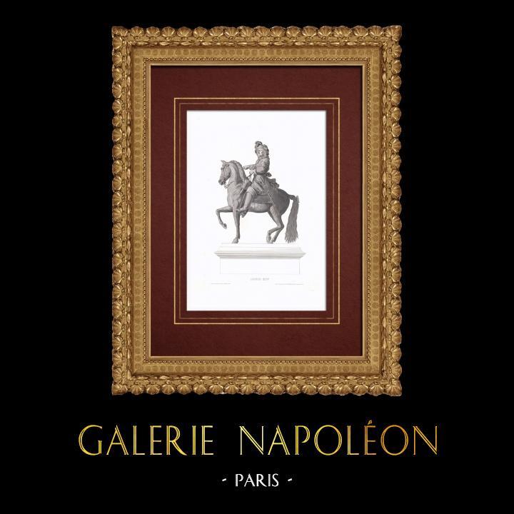 Gravures Anciennes & Dessins | Statue Equestre de Louis XIV (1638-1715) | Taille-douce | 1838
