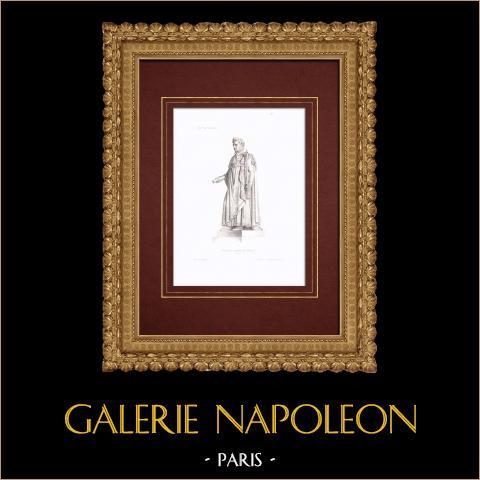 Porträt von Napoléon - Kaiser der Franzosen (1769-1821) | Original stahlstich gestochen von Pigeot. Große ränder. 1838