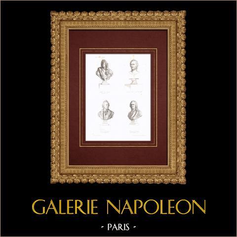 Popiersia - Muzycy - Jean-baptiste Lully (1632-1687) - André Grétry (1741-1813) - Christoph Willibald Gluck (1747-1787) - Jean-philippe Rameau (1683-1764) |