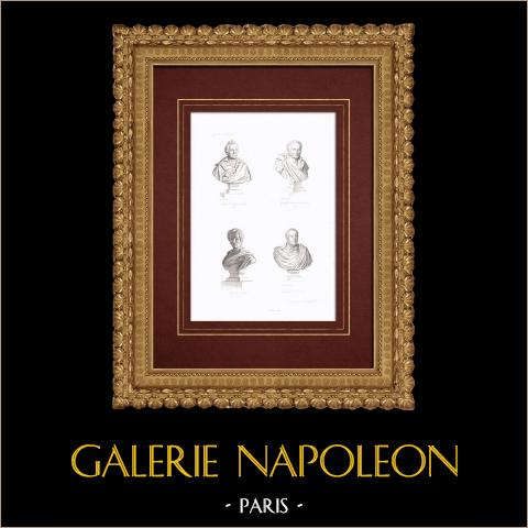 Bust - Jacques-Louis David (1748-1825) - Girodet-Trioson (1767-1824) - Pierre-Narcisse Guérin (1774-1833) - François Gérard (1770-1837) | Original steel engraving. Anonymous. 1838