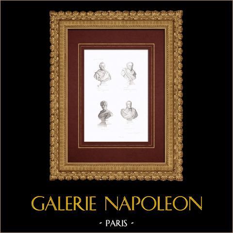 Busti - Jacques-Louis David (1748-1825) - Girodet-Trioson (1767-1824) - Pierre-Narcisse Guérin (1774-1833) - François Gérard (1770-1837) | Stampa calcografica originale a bulino su acciaio. Anonima. 1838