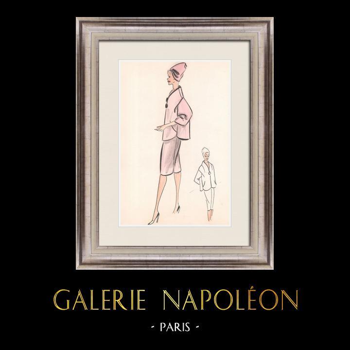 Gravures Anciennes & Dessins   Dessin de Mode - France - Paris - Années 1950/1960 23/47   Dessin   1960