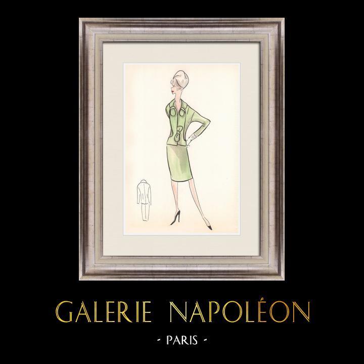 Gravures Anciennes & Dessins   Dessin de Mode - France - Paris - Années 1950/1960 27/47   Dessin   1960