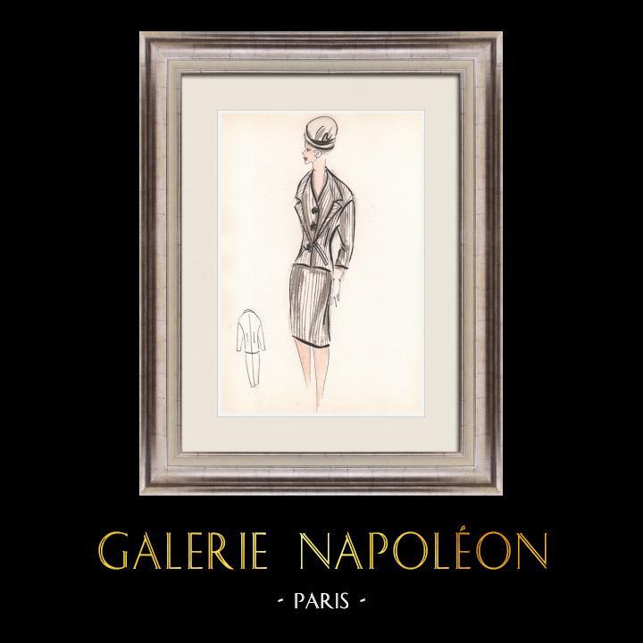 Gravures Anciennes & Dessins | Dessin de Mode - France - Paris - Années 1950/1960 30/47 | Dessin | 1960