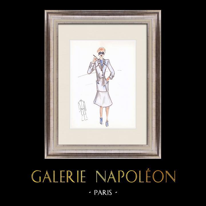 Gravures Anciennes & Dessins | Dessin de Mode - France - Paris - Années 1950/1960 46/47 | Dessin | 1960