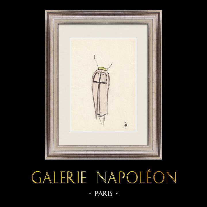 Gravures Anciennes & Dessins   Dessin de Mode - France - Paris - Jupe - Années 1950 2/12   Dessin   1950