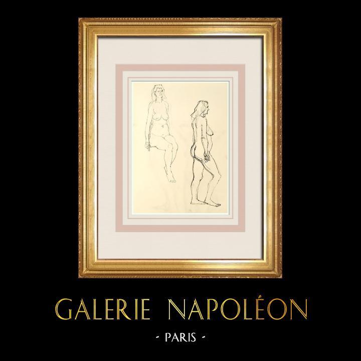 Grabados & Dibujos Antiguos | Estudio de Desnudo Femenino (Huber) 71/76 | Dibujo | 1960