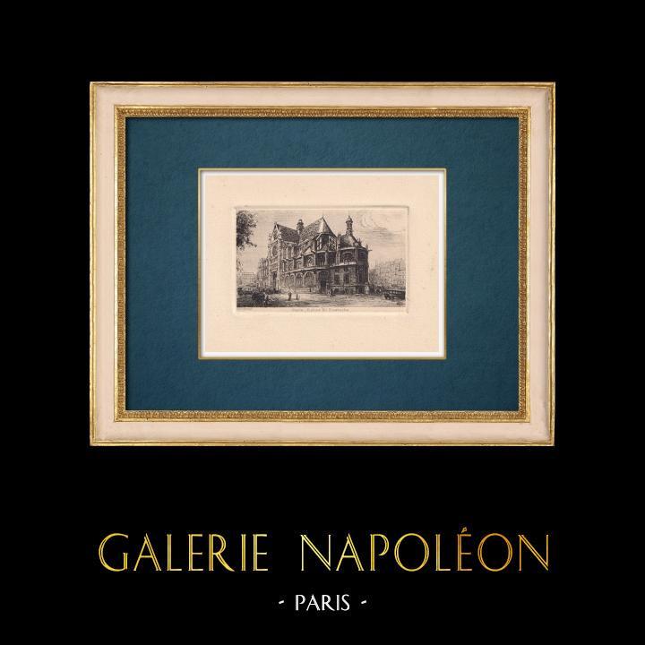 Gravures Anciennes & Dessins | Vue de Paris - Eglise Saint Eustache | Gravure à l'eau-forte | 1910
