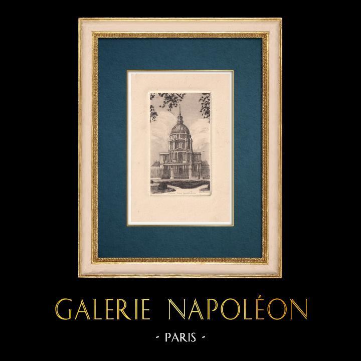 Gravures Anciennes & Dessins   Vue de Paris - Hôtel des Invalides   Gravure à l'eau-forte   1910