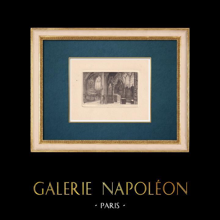 Antique Prints & Drawings | View of Paris - Saint Etienne du Mont Church - Sainte Genevieve's grave | Strong water etching | 1910
