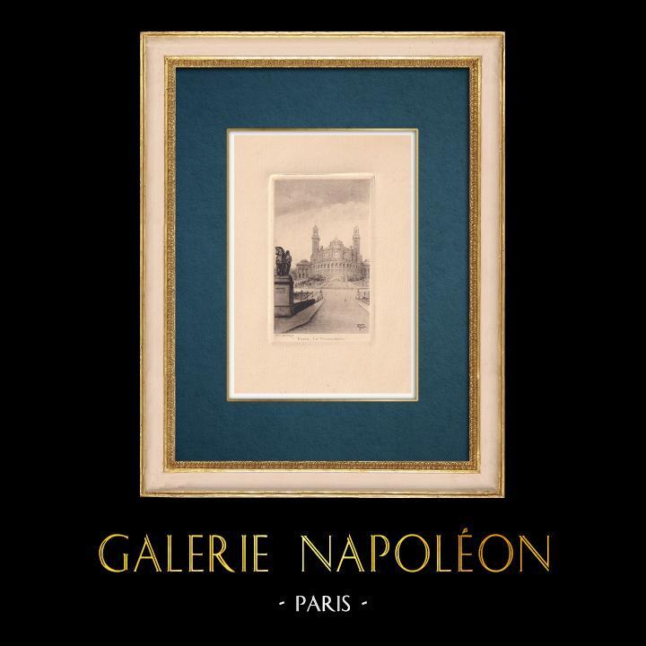 Gravures Anciennes & Dessins | Vue de Paris - Palais du Trocadéro | Gravure à l'eau-forte | 1910