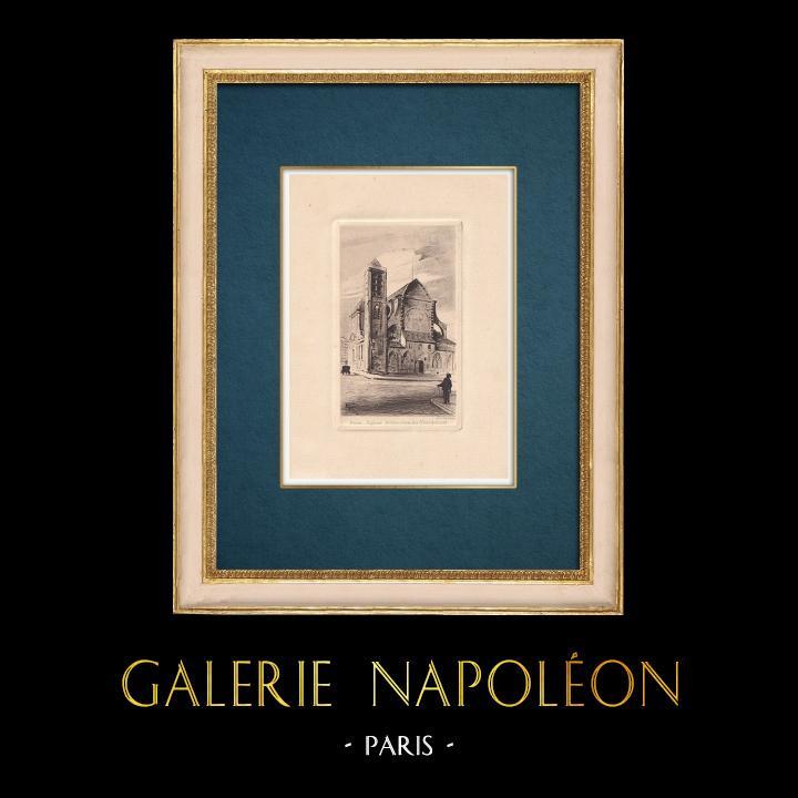 Gravures Anciennes & Dessins | Vue de Paris - Eglise Saint-Nicolas-du-Chardonnet | Gravure à l'eau-forte | 1910