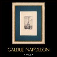 View of Paris - Tour Eiffel - Eiffel Tower | Original strong water etching on paper BFK Rives. Monogram FF. 1910