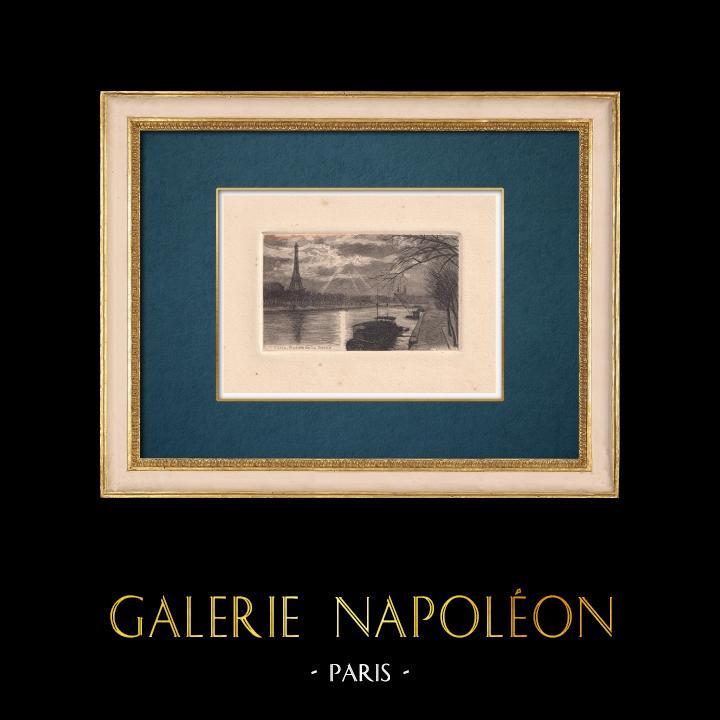 Gravures Anciennes & Dessins   Vue de Paris - Bords de la Seine - Tour Eiffel   Gravure à l'eau-forte   1910