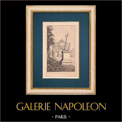 View of Paris - Arc de Triomphe du Carrousel - Napoleon I | Original strong water etching on paper BFK Rives. Monogram FF. 1910