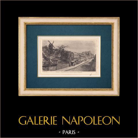 Vista de París - Moulin de la Galette - Montmartre   Grabado al aguafuerte original sobre papel BFK Rives. Monograma FF. 1910