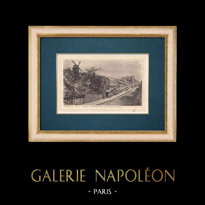 Gravures Anciennes & Dessins | Vue de Paris - Moulin de la Galette - Butte Montmartre | Gravure à l'eau-forte | 1910