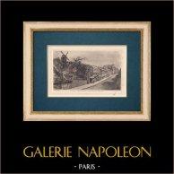 View of Paris - Moulin de la Galette - Montmartre | Original strong water etching on paper BFK Rives. Monogram FF. 1910