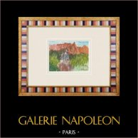 Château - Castel Caldes - Trentin - Italie (Henriette Quillier) | Aquarelle originale sur papier peinte par Henriette Quillier (1897-?). Cachet de l'artiste. 1960