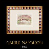 Château de Castelbello - Trentin - Italie (Henriette Quillier) | Aquarelle originale sur papier peinte par Henriette Quillier (1897-?). Cachet de l'artiste. 1960