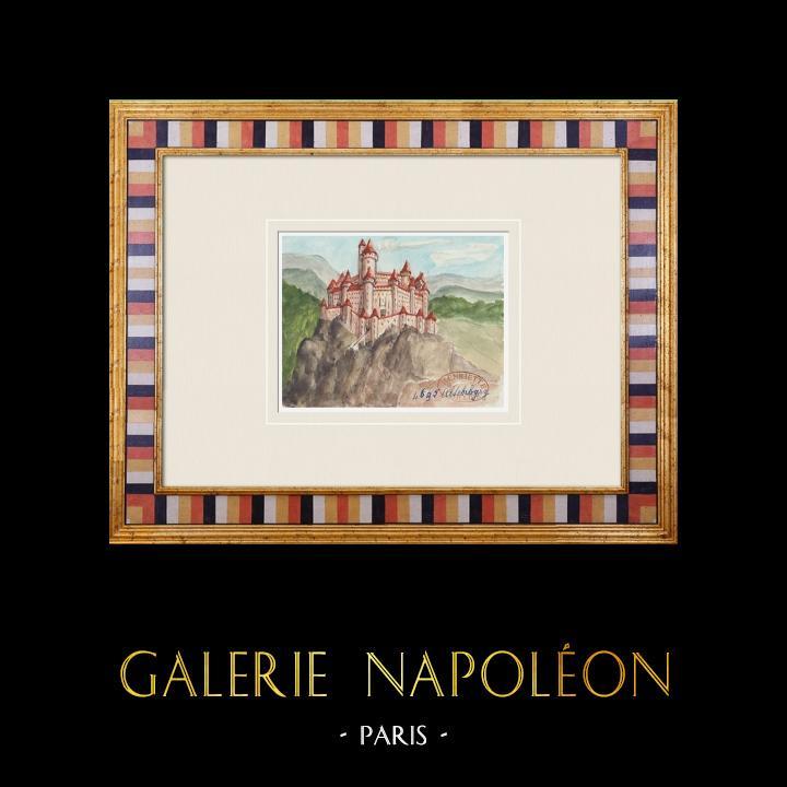 Gravures Anciennes & Dessins | Château imaginaire - Castelvecchio - Trentin-Haut-Adige - Italie (Henriette Quillier) | Aquarelle | 1960
