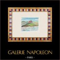 Imaginary Castle - Capo d'Otranto - Lecce - Apulia - Italy (Henriette Quillier) | Original watercolor painting on paper paint by Henriette Quillier (1897-?). Stamp of the artist. 1960
