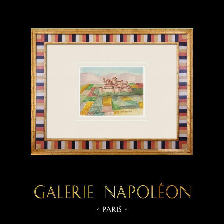 Gravures Anciennes & Dessins | Château imaginaire - Conversano - Château - Pouilles - Italie (Henriette Quillier) | Aquarelle | 1960