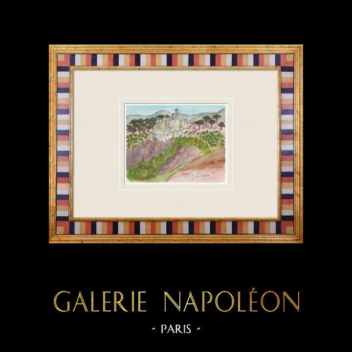 Gravures Anciennes & Dessins   Château imaginaire - Pulsano - Castello de Falconibus - Tarente - Pouilles - Italie (Henriette Quillier)   Aquarelle   1960