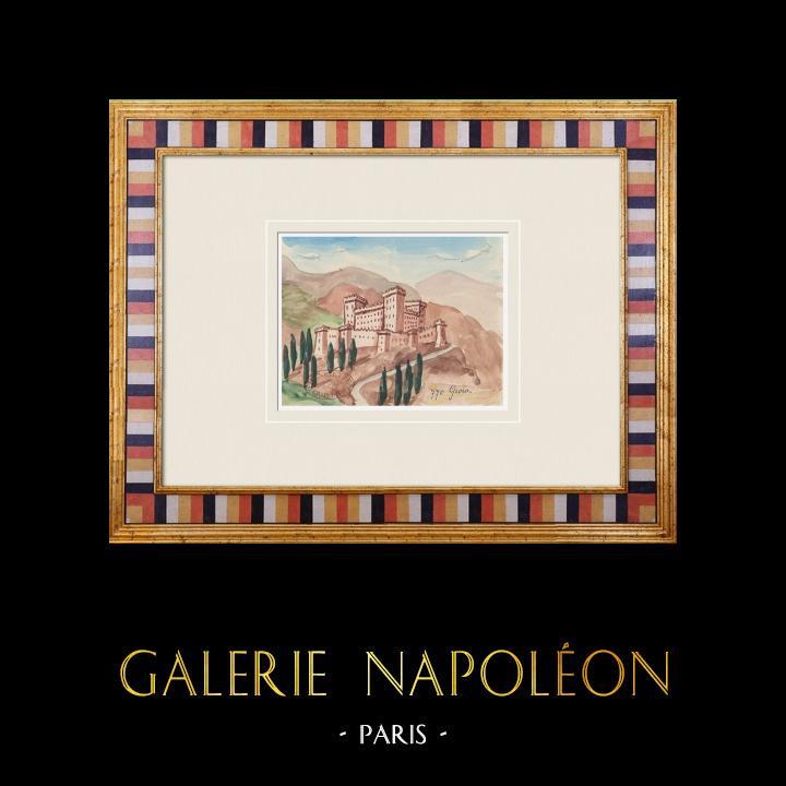 Gravures Anciennes & Dessins | Château imaginaire - Gioia del Colle - Château - Bari - Pouilles - Italie (Henriette Quillier) | Aquarelle | 1960
