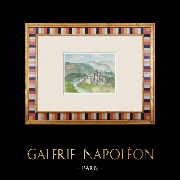 Gravures Anciennes & Dessins | Château imaginaire - Châteaulin - Finistère - France (Henriette Quillier) | Aquarelle | 1960