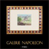 Château imaginaire - Landiras - Gironde - France (Henriette Quillier) | Aquarelle originale sur papier peinte par Henriette Quillier (1897-?). Cachet de l'artiste. 1960